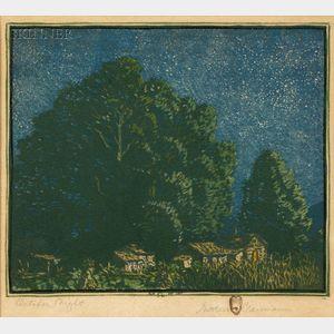 Gustave Baumann (German/American, 1881-1971)      October Night