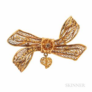 Antique Gold and Diamond Bow Brooch