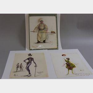 Fifteen Unframed Broadway Costume Designs