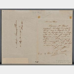Bellini, Vincenzo (1801-1835) Autograph Letter Signed, 19 December 1834.