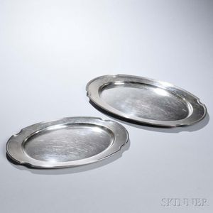 "Two Gorham ""Standish"" Pattern Sterling Silver Trays"
