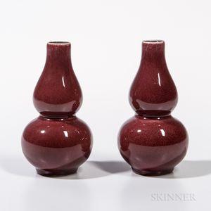 Pair of Small Flambe-glazed Vases