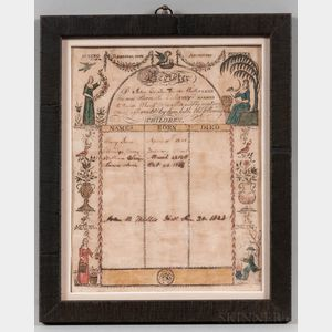 Engraved, Watercolor, and Manuscript John B. and Dorcas Hollis Family Register