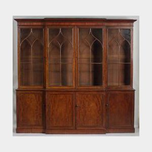 William IV Mahogany Breakfront Bookcase and Cabinet