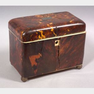 Tortoiseshell Veneer and Ivory Double Tea Caddy