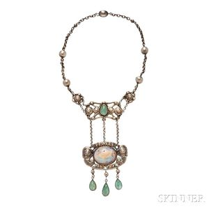 Arts and Crafts Silver, Boulder Opal, and Beryl Necklace