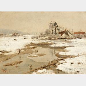 Herman Hartwich (American, 1853-1926)      Stream in Winter