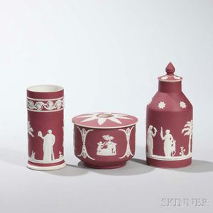 Three Wedgwood Crimson Jasper Dip Items