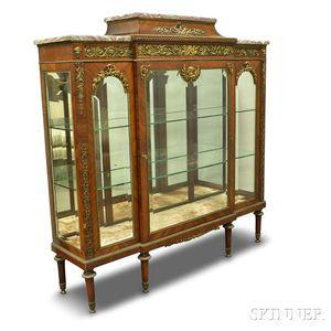 Louis XVI-style Ormolu-mounted and Kingwood Veneer Marble-top Curio Cabinet