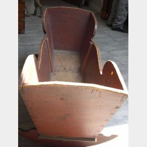 Red Painted Pine Youths Cradle.