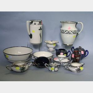 Fourteen Pieces of Silver Overlay Glazed Porcelain Tableware