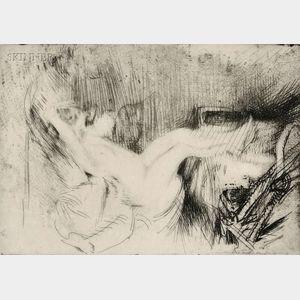 Jacques Villon (French, 1875-1963)      Minne étendue dans un rocking-chair, le repos
