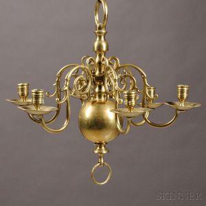 Six-light Brass Chandelier