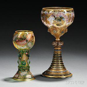 Two Moser-type Gilded and Enameled Green Glass Goblets