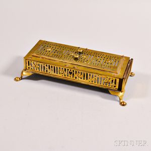 Pierced Brass Cribbage Board/Box
