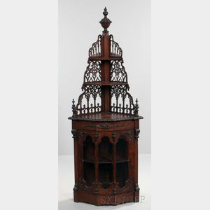 Gothic Revival Carved and Glazed Mahogany Corner Cabinet