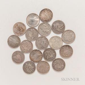 Thirteen Morgan Dollars and Five Peace Dollars.
