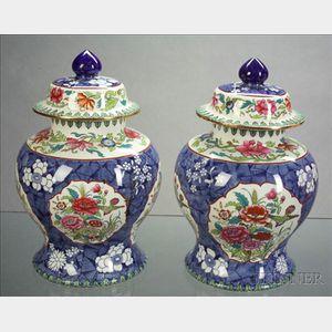 *Pair Copeland Spode Earthenware Ginger Jars