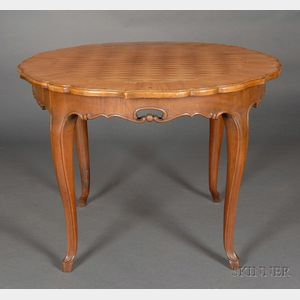 German Fruitwood Parquetry Inlaid Maple Center Table