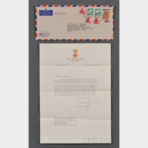 Gandhi, Indira (1917-1984) Typed Letter Signed, 25 December 1968.