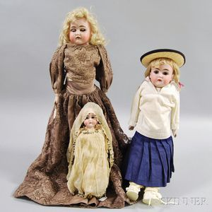 Three German Bisque Head Girl Dolls