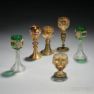 Six Moser-type Gilded and Enameled Glass Chalices