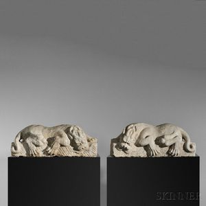 Pair of White Marble Lions with Dragon Heads, Ba Xia