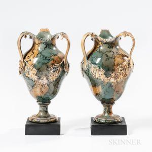 Pair of Wedgwood & Bentley Variegated Three-handled Vases