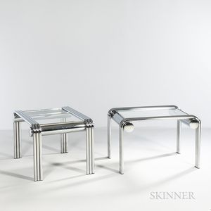 Two Tubular Chrome and Glass Side Tables