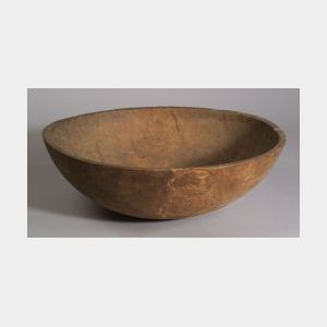 Large Round Turned Wooden Bowl