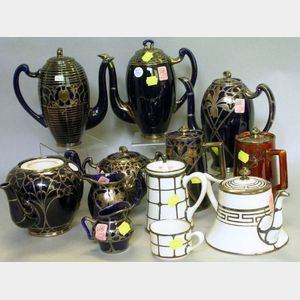 Twelve Pieces of Silver Overlay Glazed Porcelain Tea and Coffeeware