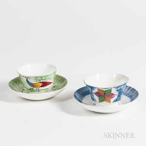 Two Spatterware Cups and Saucers