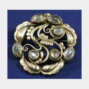 Sterling Silver and Moonstone Brooch
