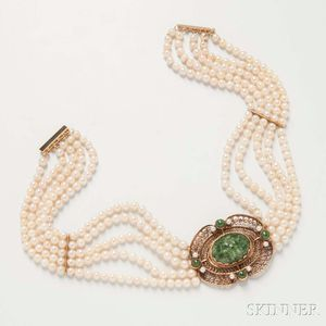 Five-strand Cultured Pearl, 14kt Gold, and Jadeite Choker