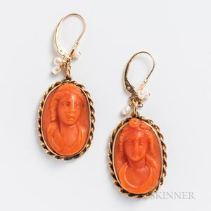 Pair of Gold and Coral Cameo Earrings
