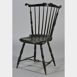 Black Painted Windsor Fanback Side Chair