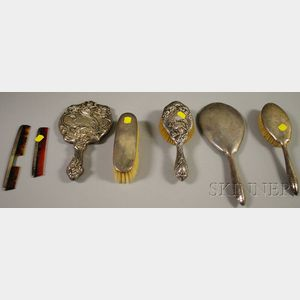 Seven Sterling Silver-mounted Dresser Items