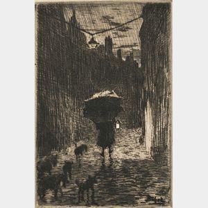 Félix Hilaire Buhot (French, 1847-1898)      Nine Diminutive Images:  Ma petite village, 1er planche (Après la pluie)