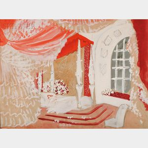 Marcel Vertès (French, 1895-1961)      Set for the Bedroom in La Belle Hélène