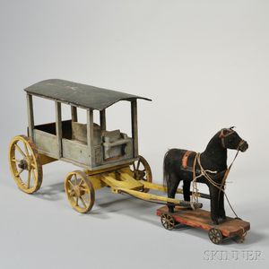 Horse-drawn Covered Carriage Pull Toy