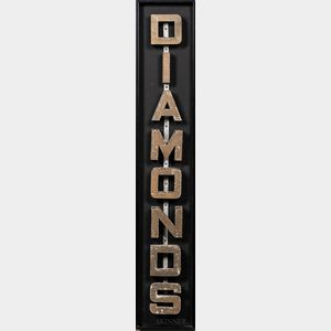 """Gold-painted """"Diamonds"""" Sign"""