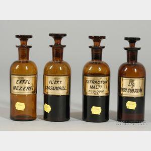 Set of Sixteen Brown Apothecary Bottles