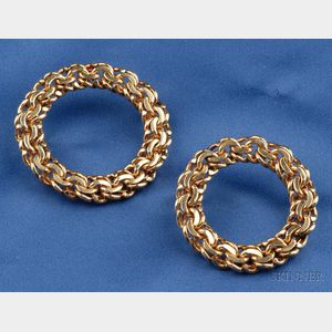 Two 14kt Gold Circle Brooches