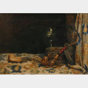 Continental School, 19th Century      Still Life with Pipes, Tobacco, and Romer.