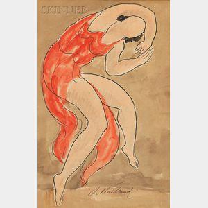 Abraham Walkowitz (American, 1878-1965)      Sketch of Isadora Duncan