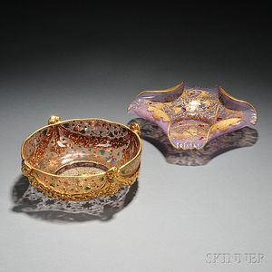 Two Moser-type Gilded and Enameled Glass Bowls