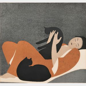 Will Barnet (American, 1911-2012)      Woman and Cats