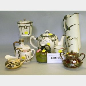 Ten-Piece Willets Belleek Asian-style Silver Overlay White Glazed Porcelain Beverage Set and Twelve Pieces of Assorted Silver Overlay G