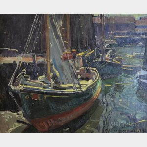 Attributed to William Lester Stevens (American, 1888-1969)      Fishing Vessels at a Wharf