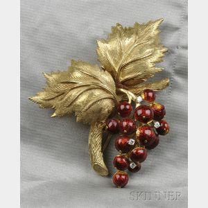 18kt Gold and Enamel Brooch